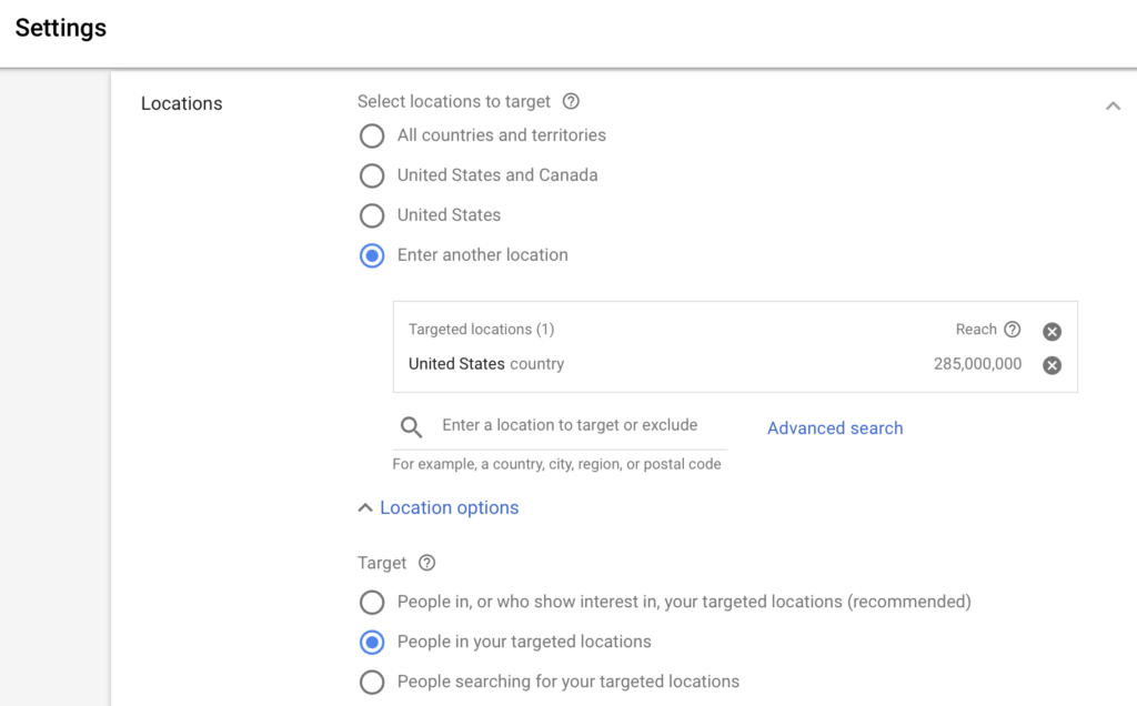 Google Search Location Targets