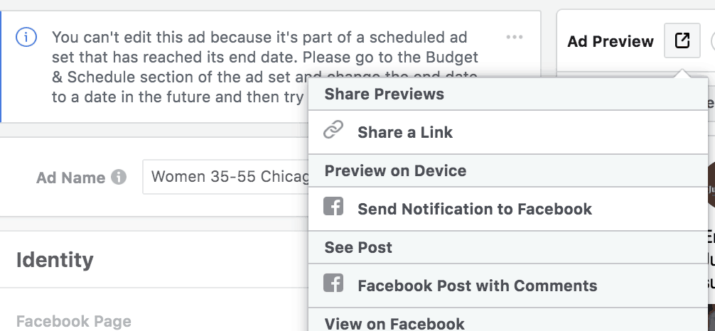 Review comments on Facebook Ads