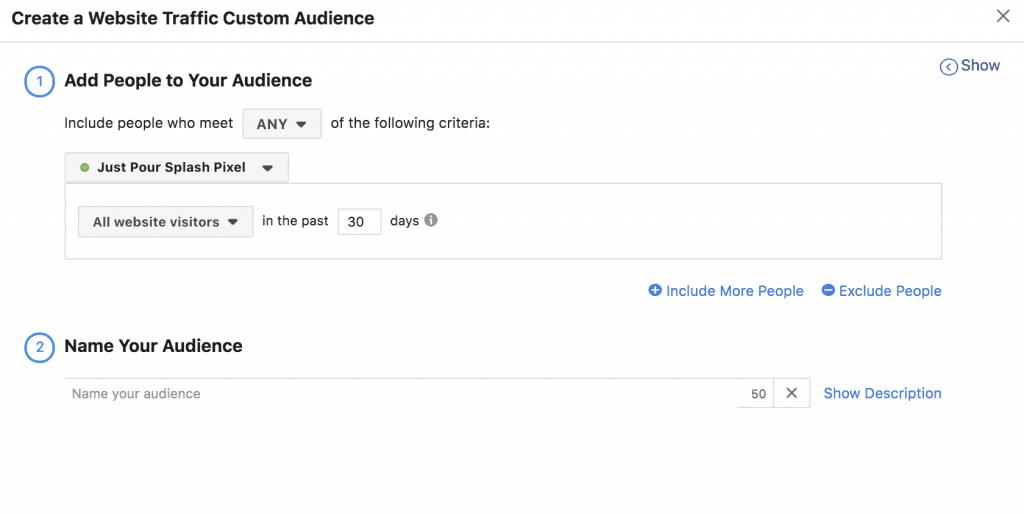 Facebook Website Traffic Custom Audiences