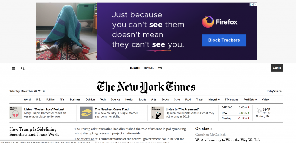 Google Partner Network on the New York Times