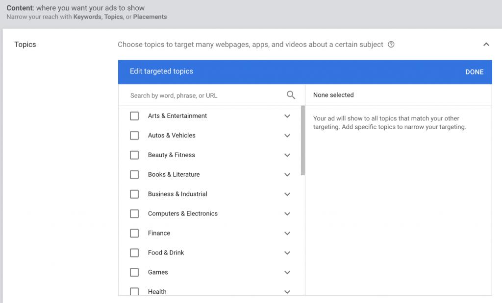 Google Display Contextual Targeting